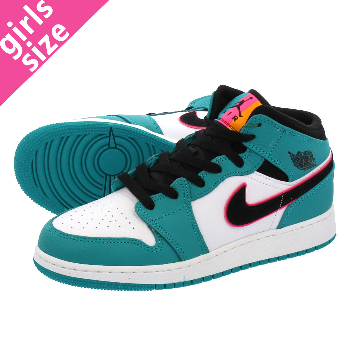 low priced 03bfc 8b831 NIKE AIR JORDAN 1 MID BG Nike Air Jordan 1 mid BG TURBO GREEN BLACK HYPER  PINK ORANGE PEEL bq6931-306