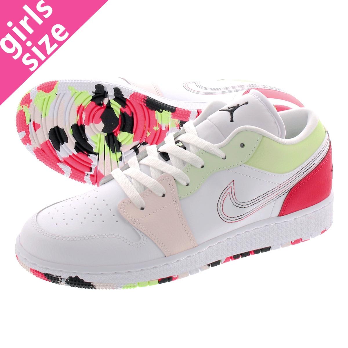 Nike Air Jordan 1 Low GS White Ember Glow Barely Volt 554723 176