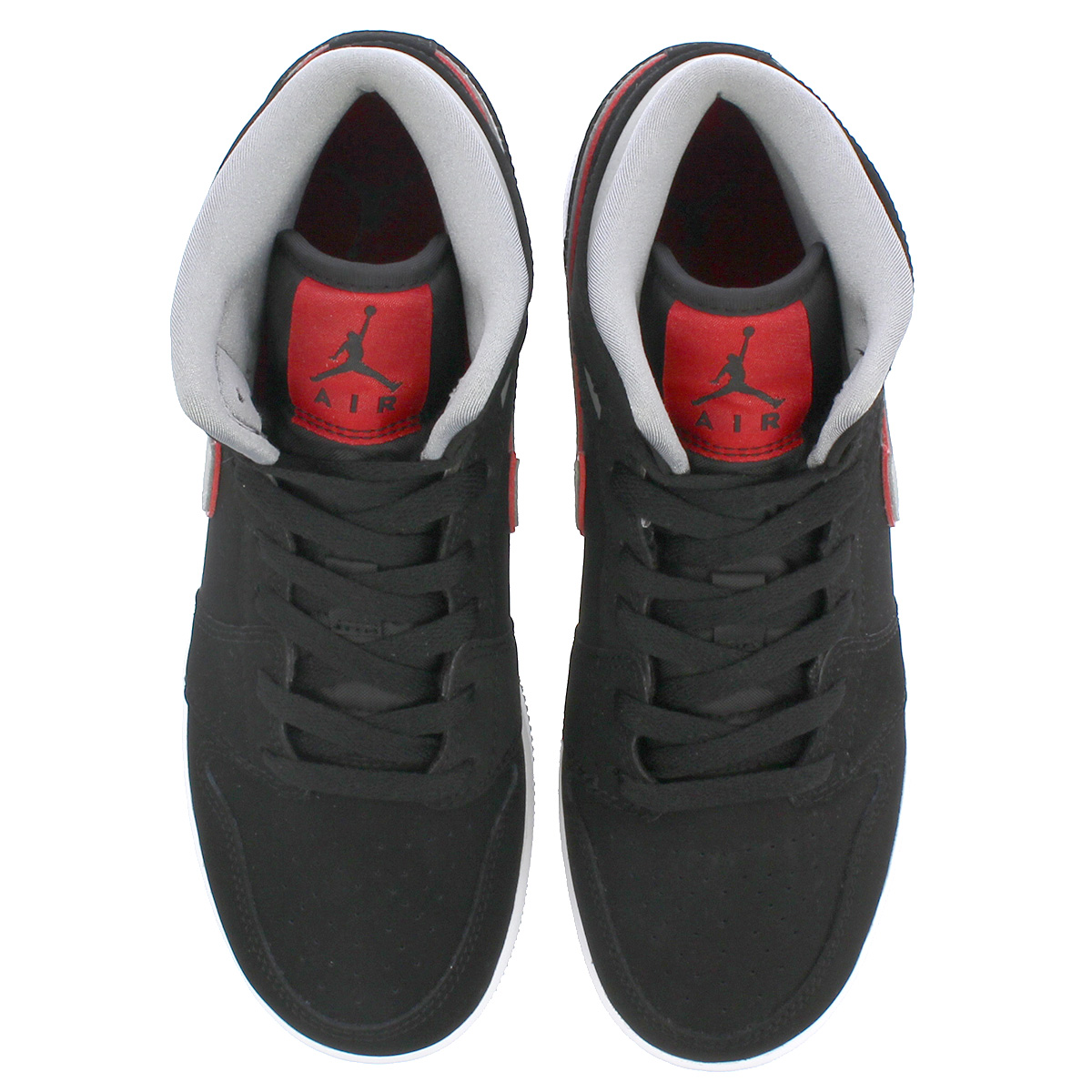 new style ae369 802ee NIKE AIR JORDAN 1 MID BG Nike Air Jordan 1 mid BG BLACK PARTICLE GREY WHITE GYM  RED 554,725-060