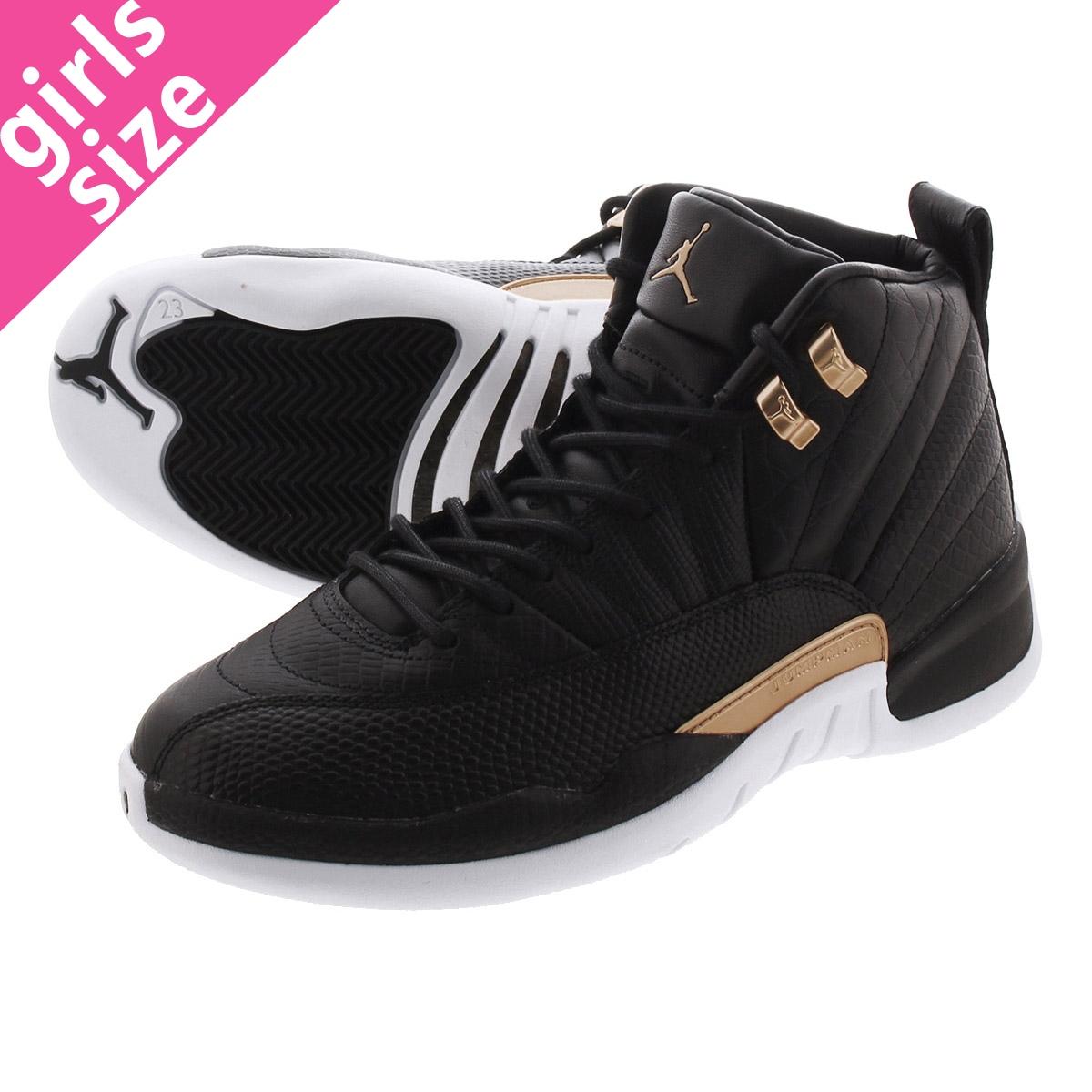 detailed look 01843 cc16e NIKE WMNS AIR JORDAN 12 RETRO Nike women Air Jordan 12 nostalgic  BLACK/METALLIC GOLD/WHITE ao6068-007