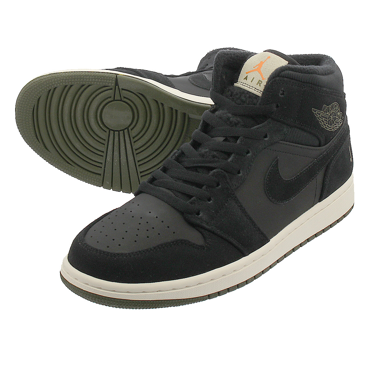 promo code 12f9c 9873e NIKE AIR JORDAN 1 MID Nike Air Jordan 1 mid BLACK/OLIVE CANVAS/SAIL/CONE  bq6579-001