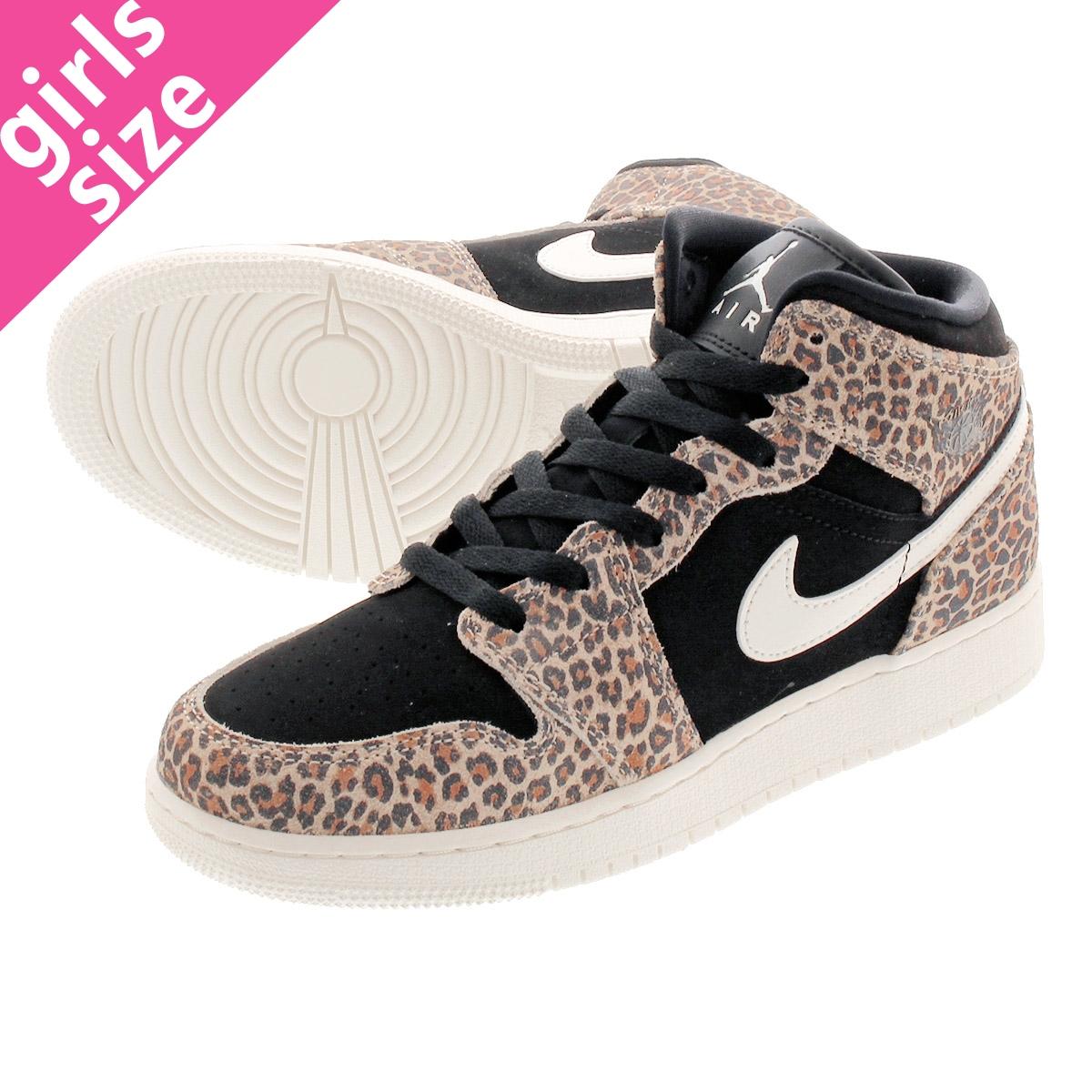 NIKE AIR JORDAN 1 MID SE GS Nike Air Jordan 1 mid SE GS BLACKPALE IVORY DESERT ORE bq6931 021