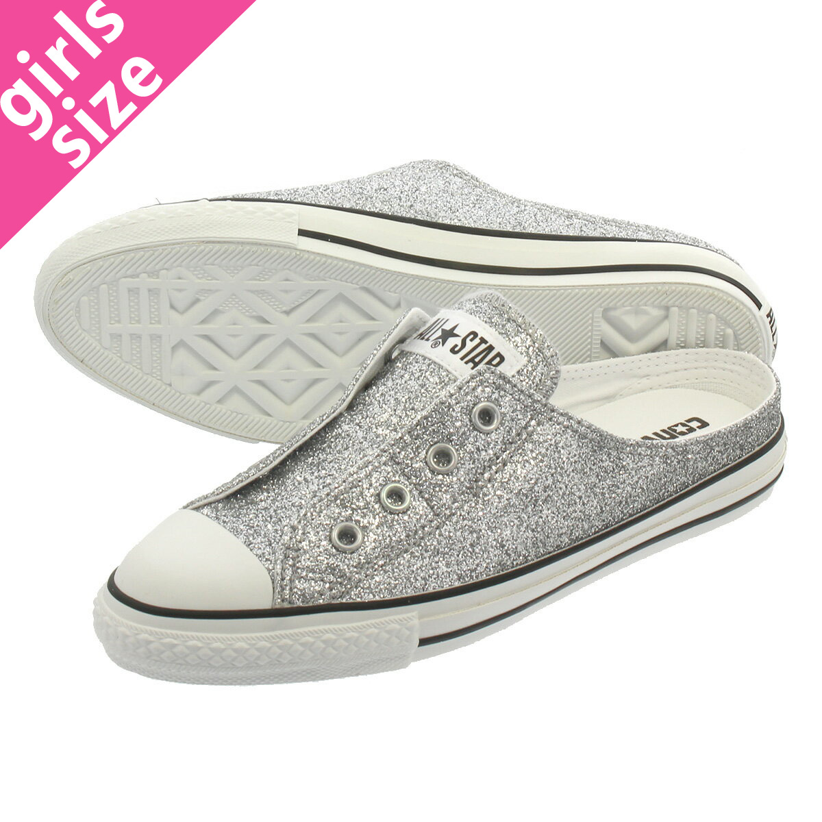 5efd9043d4d LOWTEX PLUS: CONVERSE ALL STAR S GLITTERY MULE SLIP OX Converse all-stars S  グリッタリーミュールスリップ OX SILVER 31300130 | Rakuten Global Market