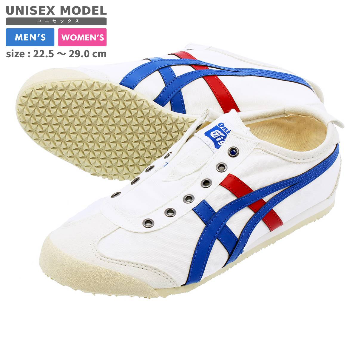 timeless design 8ea1b 7f7e1 Onitsuka Tiger MEXICO 66 SLIP-ON CV WHITE/BLUE/RED