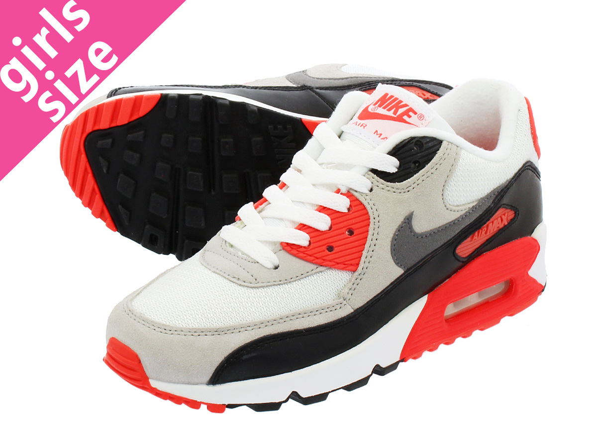NIKE AIR MAX 90 PREMIUM MESH GS WHITEGREYBLACKINFRARED