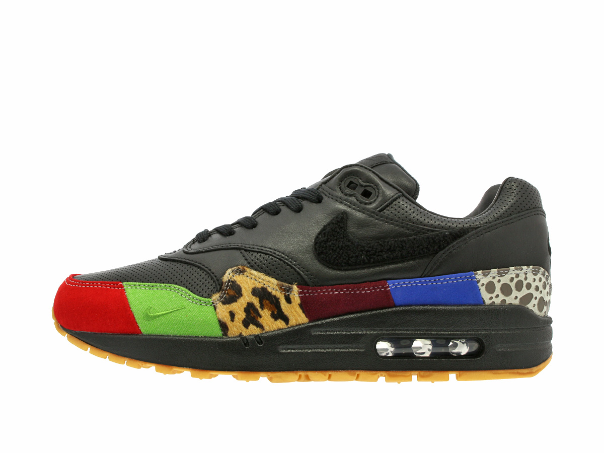 NIKE AIR MAX 1 MASTER耐克空气最大1主人BLACK/BLACK/UNIVERSITY RED/INTL BLUE
