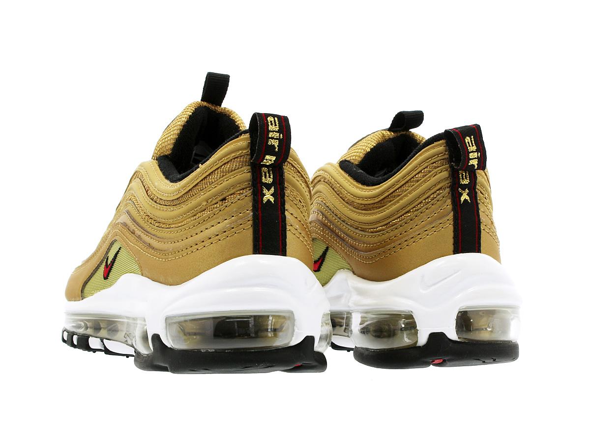 NIKE WMNS AIR MAX 97 OG QS Nike women Air Max 97 OG QS METALLIC GOLD VARSITY  RED WHITE BLACK 885 a50256a4b32a
