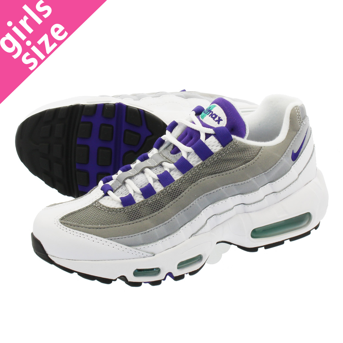 brand new 2ad94 0a5a4 LOWTEX PLUS  NIKE WMNS AIR MAX 95 Nike women Air Max 95 WHITE COURT PURPLE EMERALD  GREEN WOLF GREY 307960-109-l   Rakuten Global Market