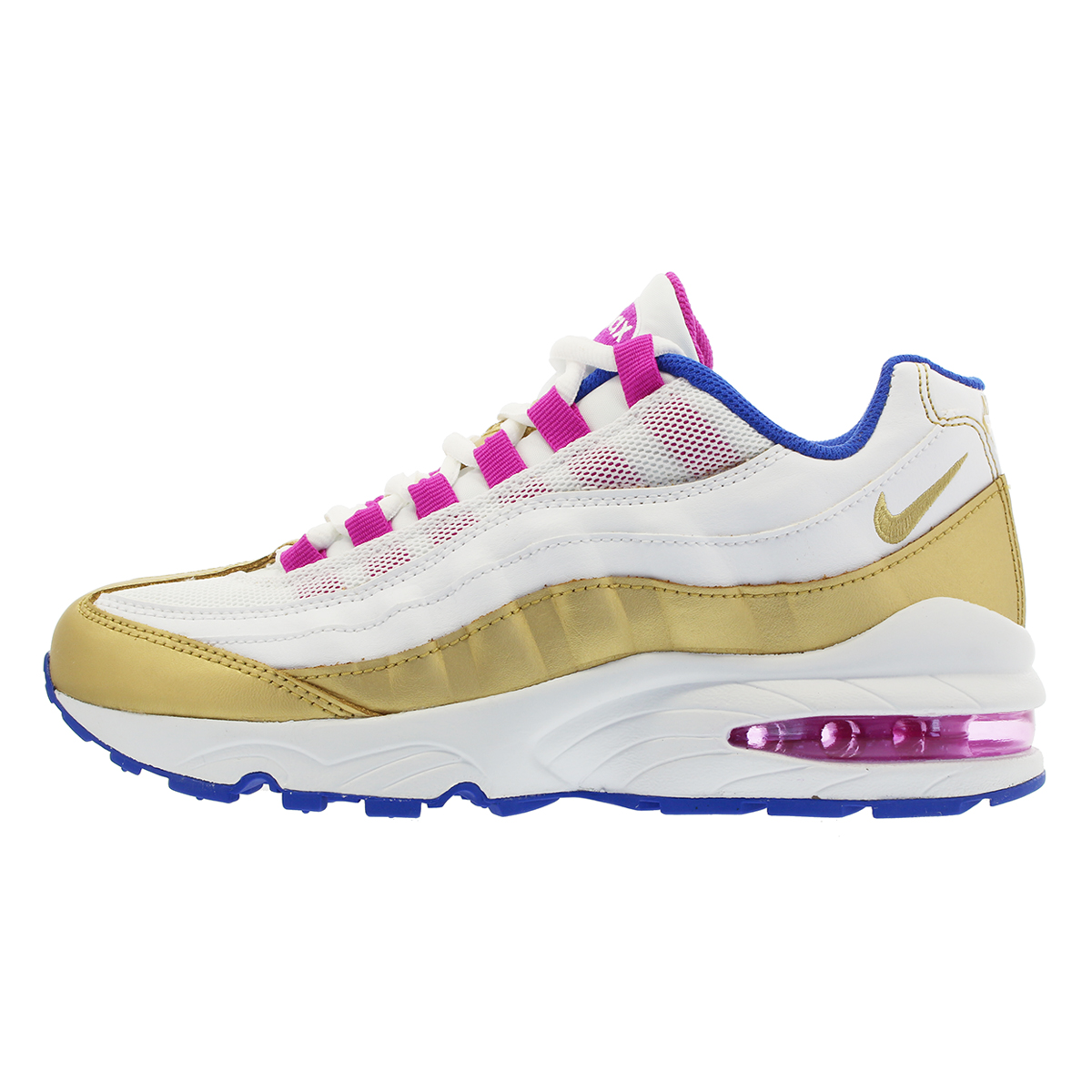 NIKE AIR MAX 95 LE GS Kie Ney AMAX 95 leather GS WHITE RACER BLUE FUCHSIA  BLAST GOLD cce0013b1