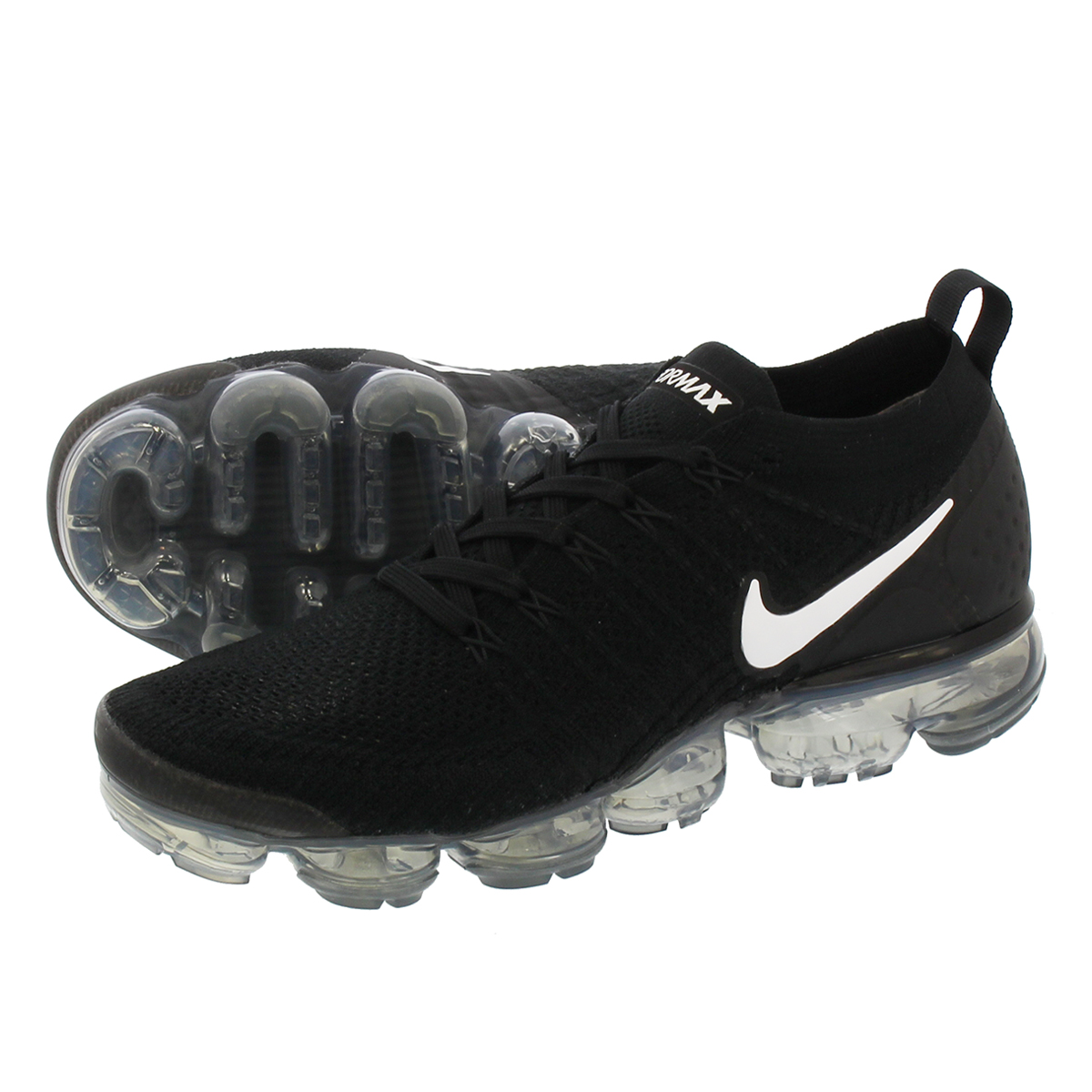 size 40 37349 91327 NIKE AIR VAPORMAX FLYKNIT 2 Nike vapor max fried food knit 2  BLACK/WHITE/DARK GREY/METALLIC SILVER
