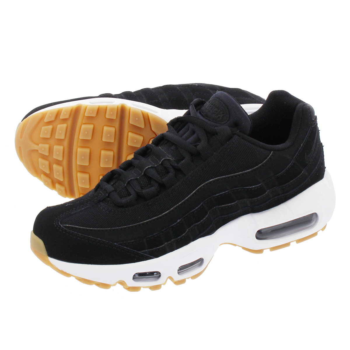 NIKE WMNS AIR MAX 95 Nike women Air Max 95 BLACK ANTHRACITE GUM LIGHT BROWN  307 32bcf570cc14