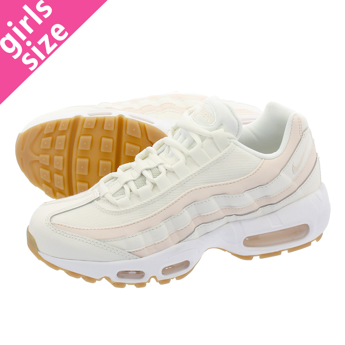 uk availability 47b99 d9fd7 NIKE WMNS AIR MAX 95 Nike women Air Max 95 SAIL GUAVA ICE GUM LIGHT  BROWN WHITE 307,960-111