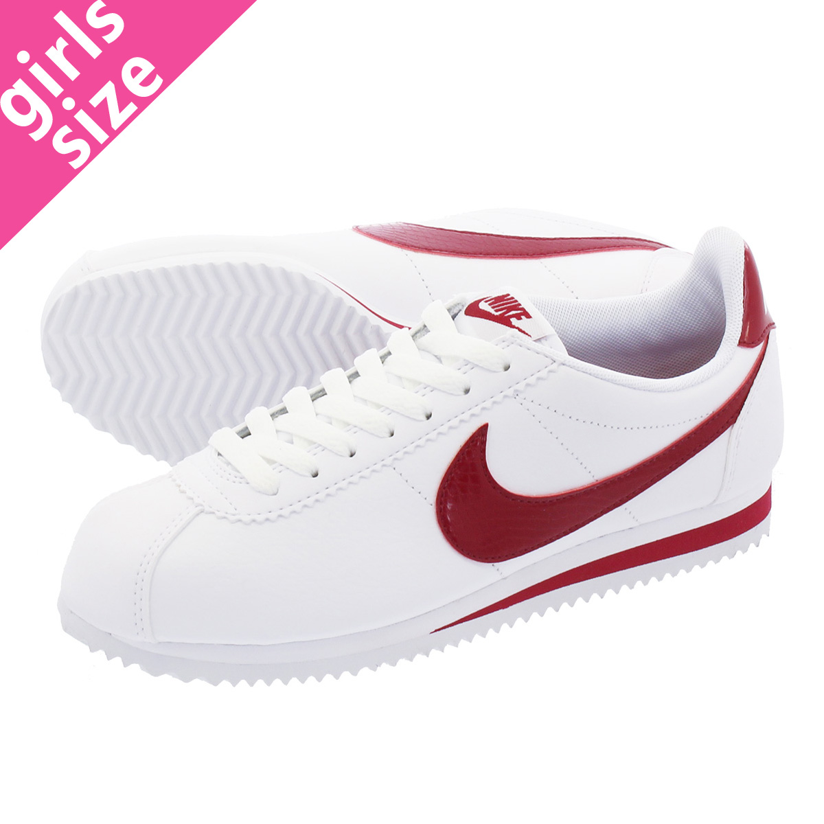 new arrival 15b3d b209c NIKE WMNS CLASSIC CORTEZ LEATHER ナイキウィメンズクラシックコルテッツレザー WHITE/RED CRUSH  807,471-108