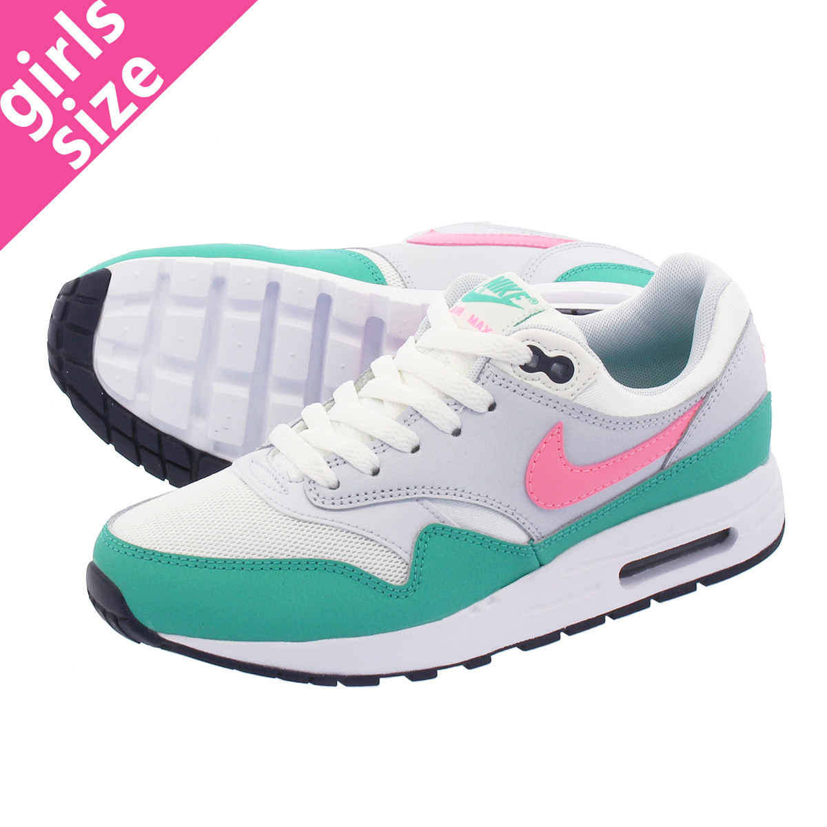 best loved 807a1 6c4c0 NIKE AIR MAX 1 GS Kie Ney AMAX 1 GS SUMMIT WHITE SUNSET PULSE KINETIC GREEN  807,602-105