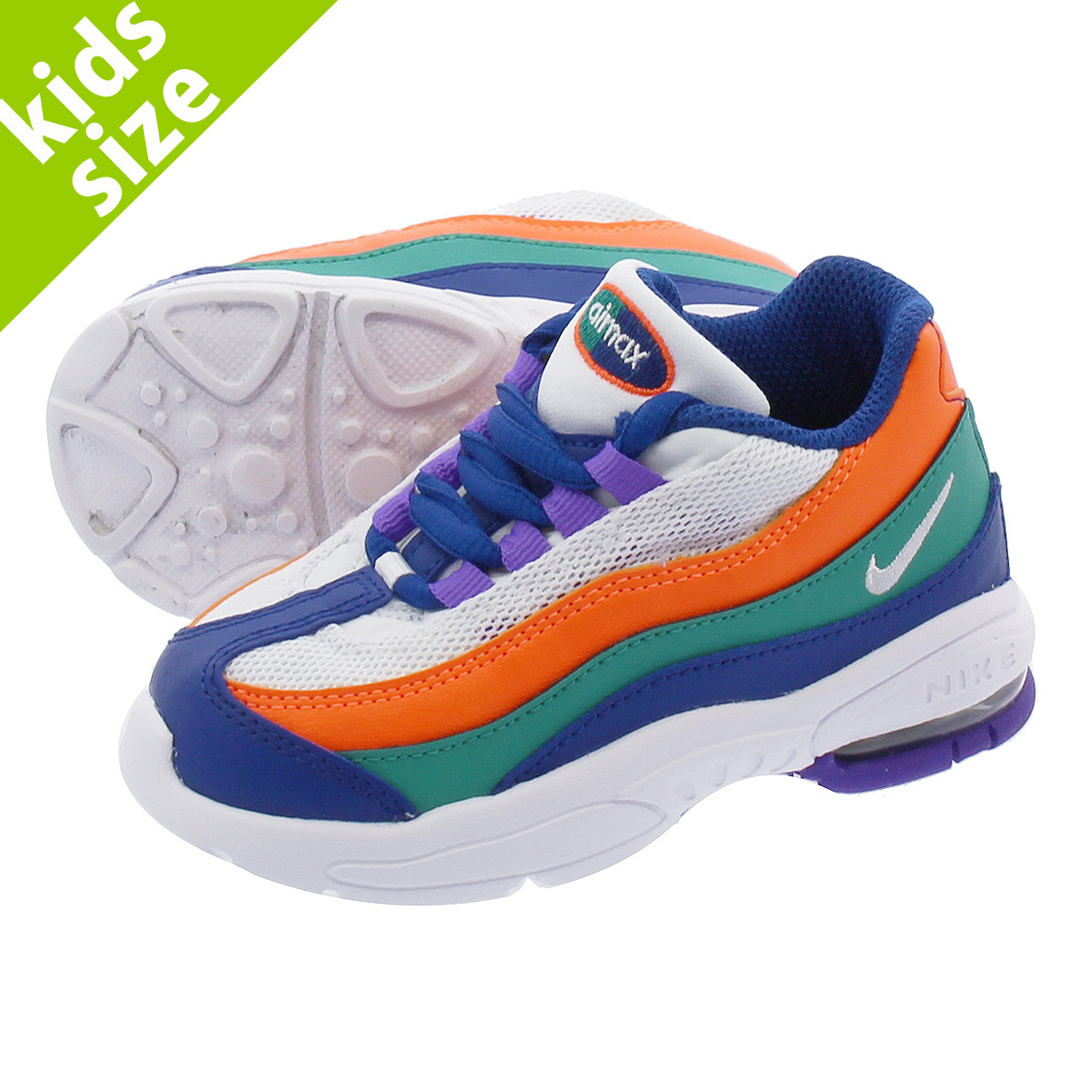 sports shoes fd702 706e6 NIKE AIR MAX 95 TD Kie Ney AMAX 95 TD WHITE/BLUE/ORANGE/GREEN 905,462-412