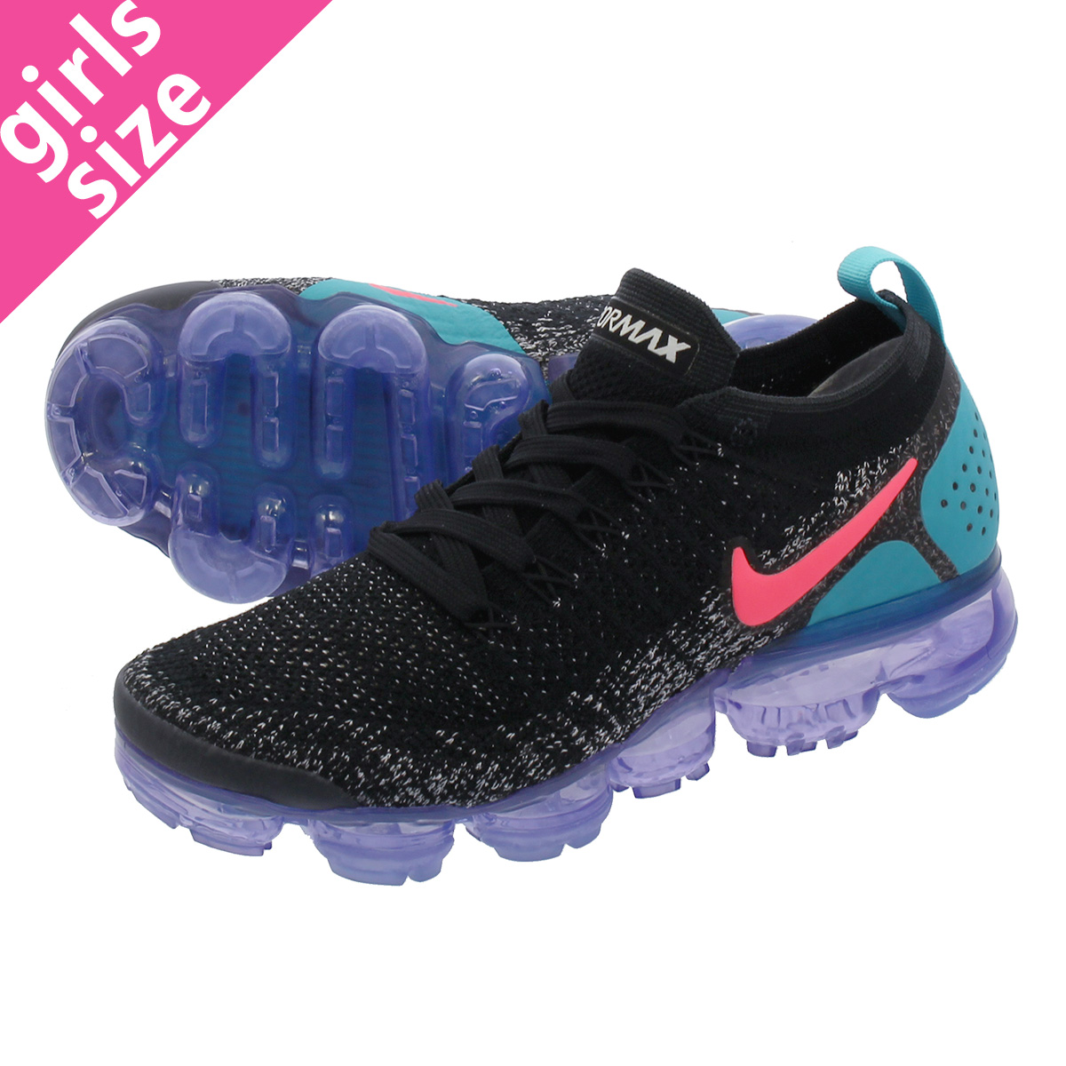 NIKE WMNS AIR VAPORMAX FLYKNIT 2 ナイキ ウィメンズ ヴェイパー マックス フライニット BLACK/HOT PUNCH/CACTUS 942843-003