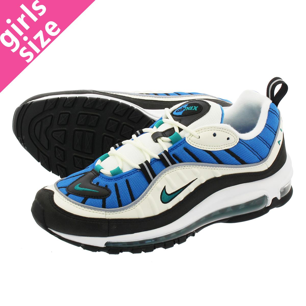 6d68409734 NIKE WMNS AIR MAX 98 Nike women Air Max 98 SAIL/RADIANT EMERALD/BLUE NEBULA  ah6799-106