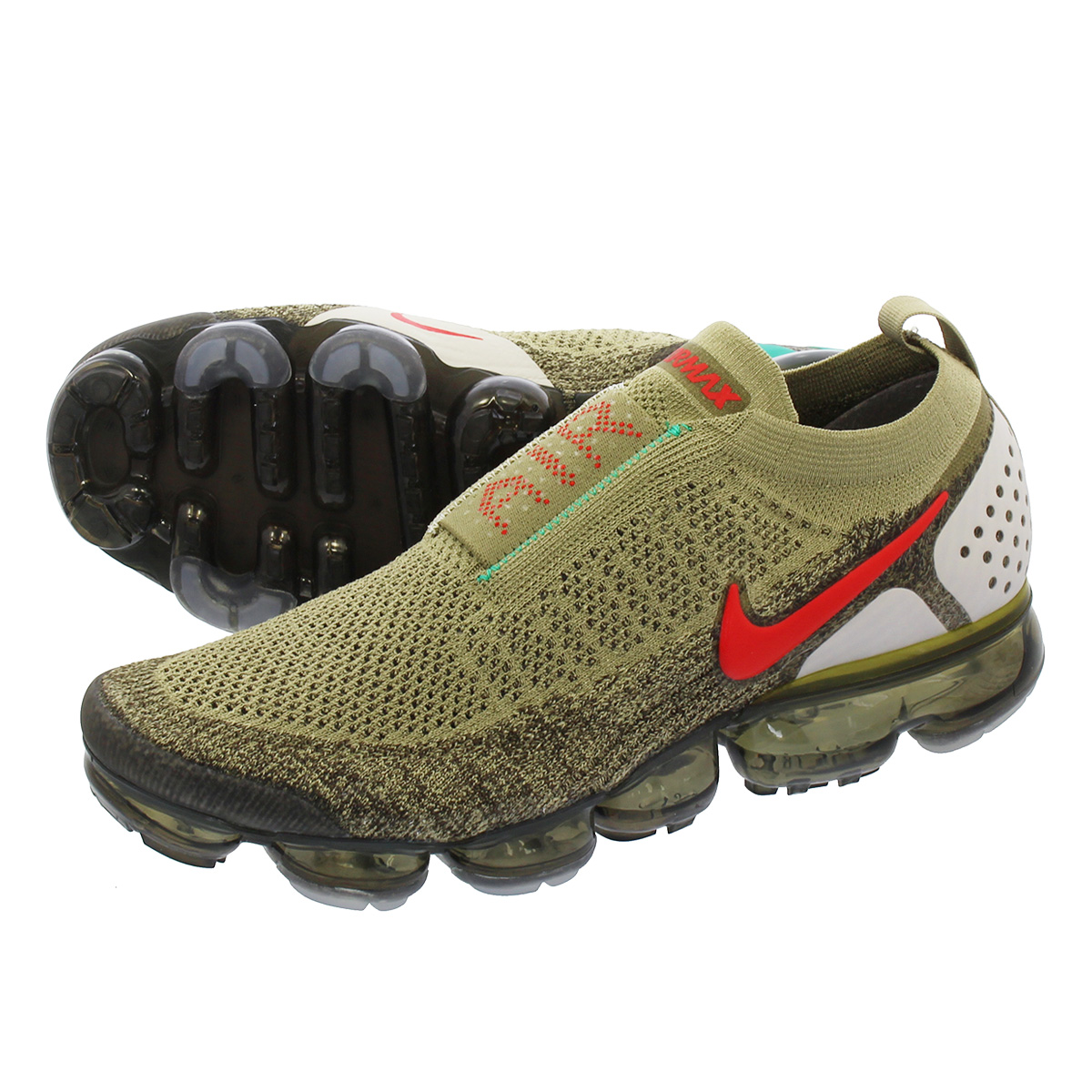 3250f9f6b2ac4 NIKE AIR VAPORMAX MOC 2 Nike air vapor max fried food knit mock 2 NEUTRAL  OLIVE HABANERO RED ah7006-200