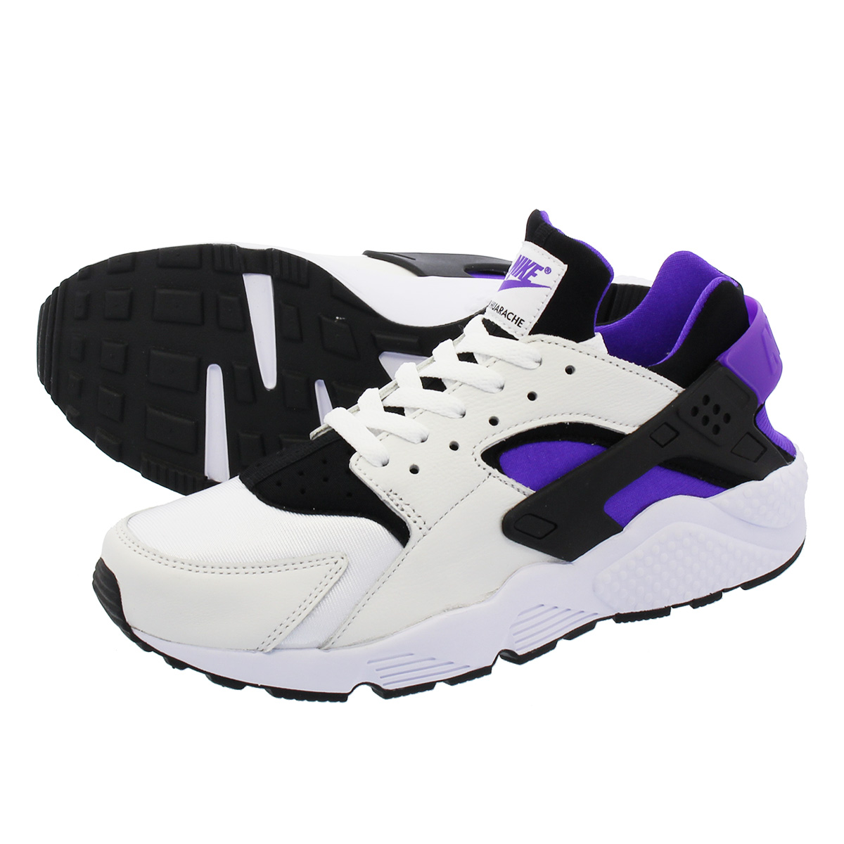1645e3e68757 NIKE AIR HUARACHE RUN  91 QS ナイキエアハラチラン 91 QS BLACK PURPLE PUNCH BLACK WHITE  ah8049-001