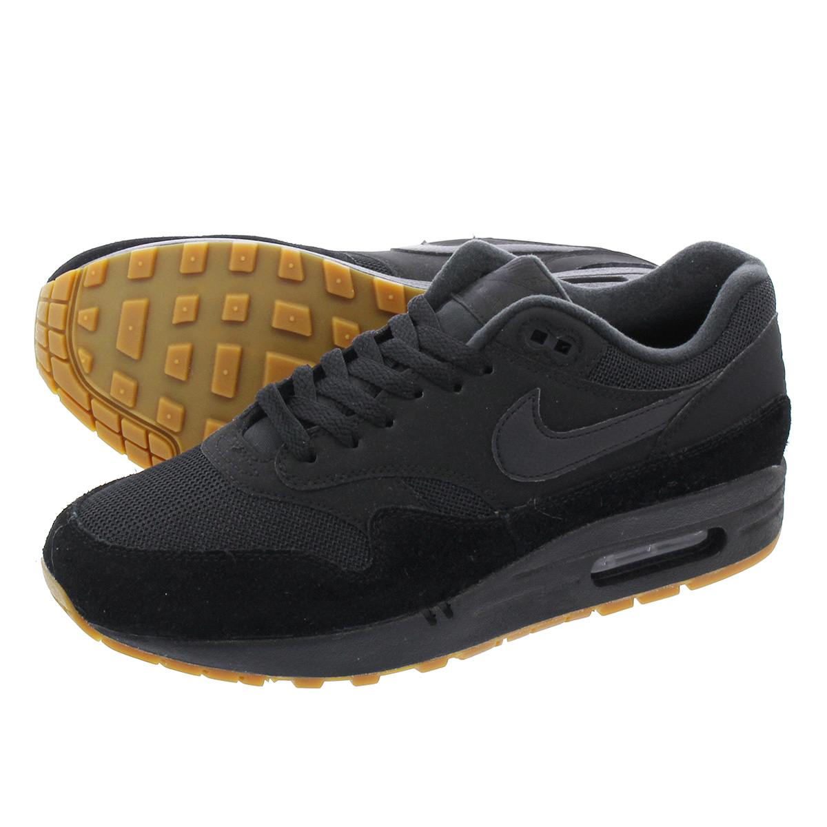 LOWTEX PLUS  NIKE AIR MAX 1 Kie Ney AMAX 1 BLACK BLACK BLACK GUM MEDIUM  BROWN ah8145-007  68ccec39e
