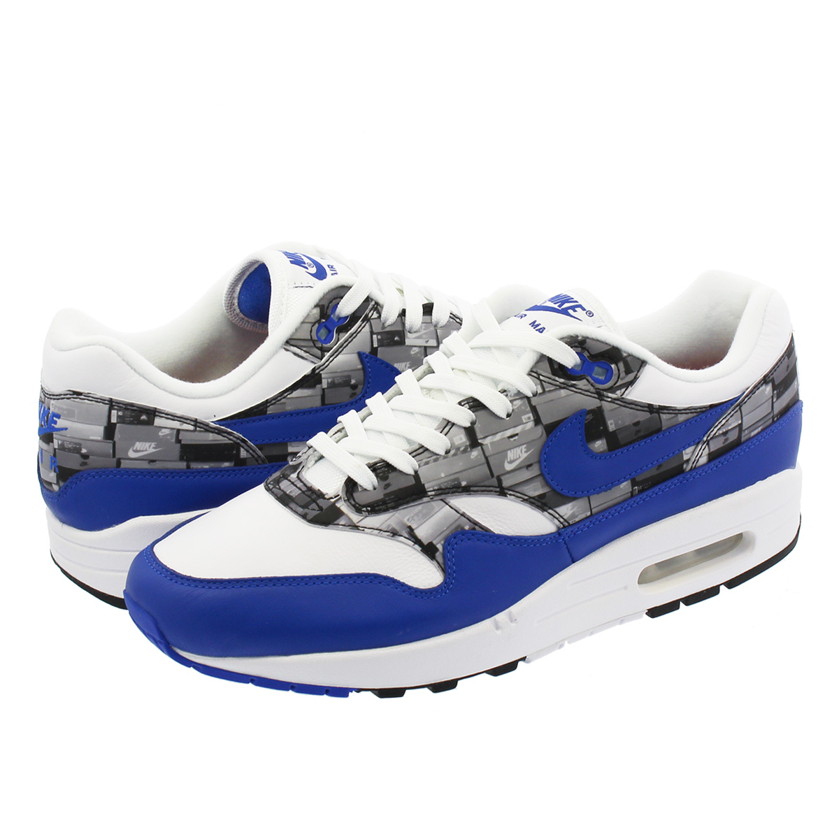 good quality low cost huge sale NIKE AIR MAX 1 PRINT Kie Ney AMAX 1 print WHITE/GAME ROYAL/NEUTRAL GREY  aq0927-100