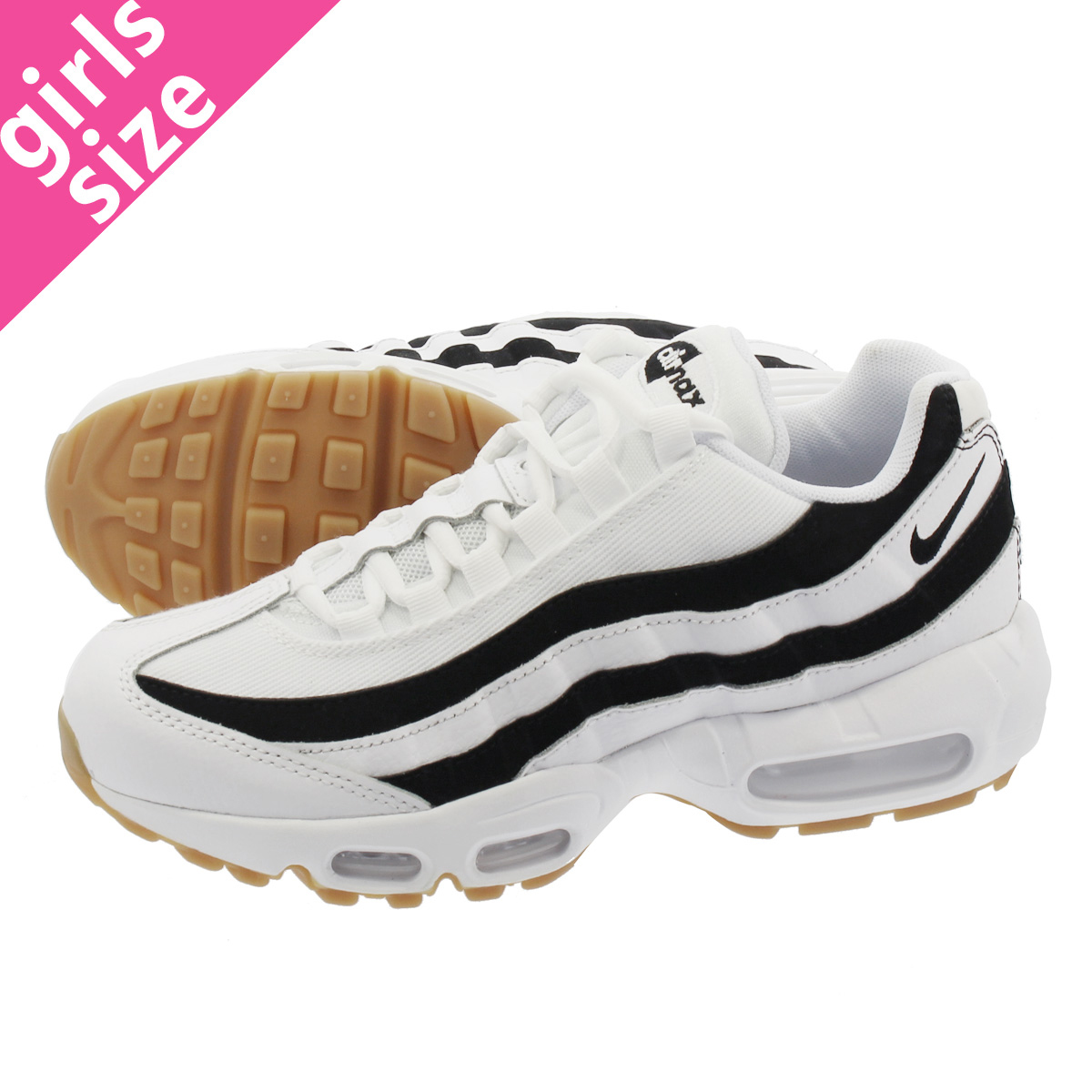 18da328e9ca LOWTEX PLUS  NIKE WMNS AIR MAX 95 Nike women Air Max 95 WHITE GUM LIGHT  BROWN BLACK 307