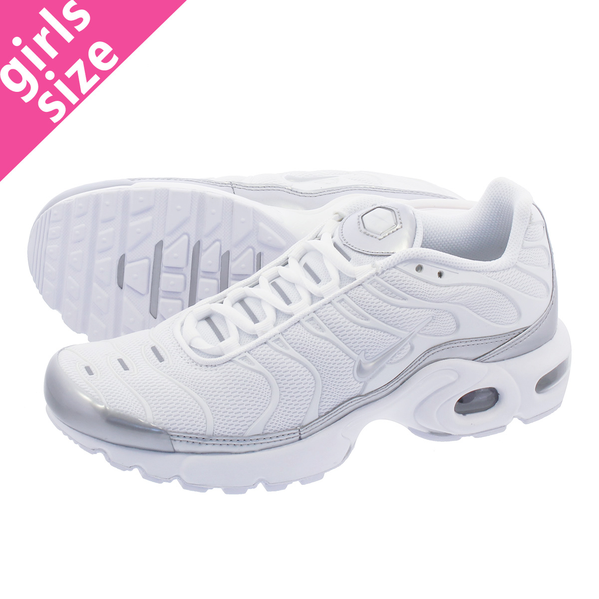 LOWTEX PLUS  NIKE AIR MAX PLUS GS Kie Ney AMAX plus GS WHITE METALLIC  SILVER 655 58e994cac