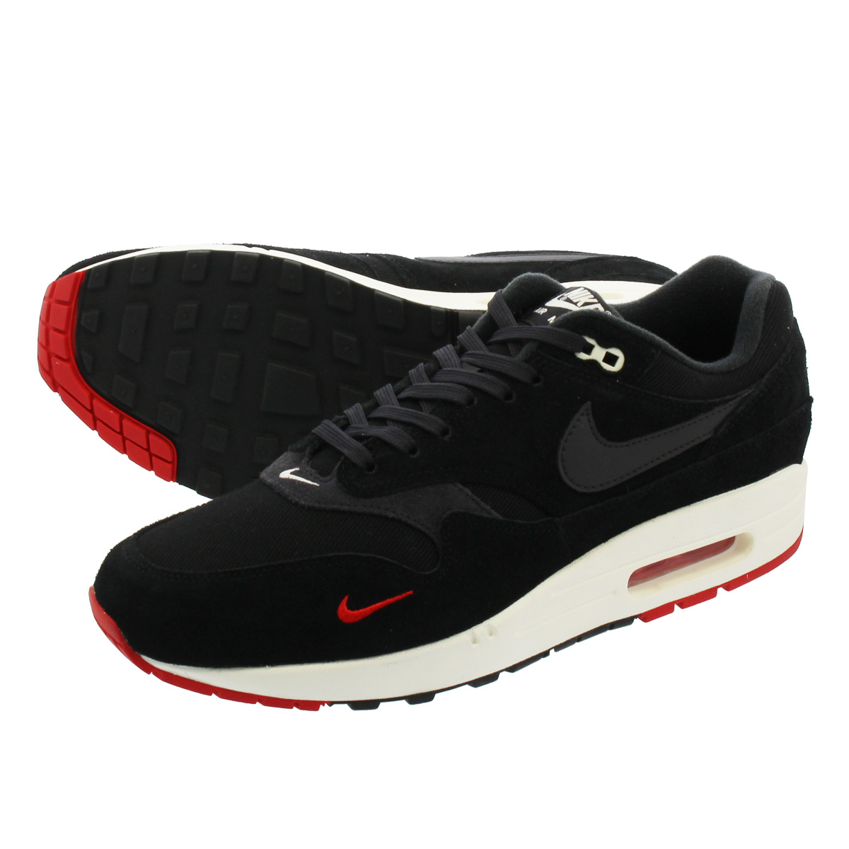 brand new 8f130 caeac NIKE AIR MAX 1 PREMIUM Kie Ney AMAX 1 premium BLACK OIL GREY UNIVERSITY  RED SAIL 875,844-007