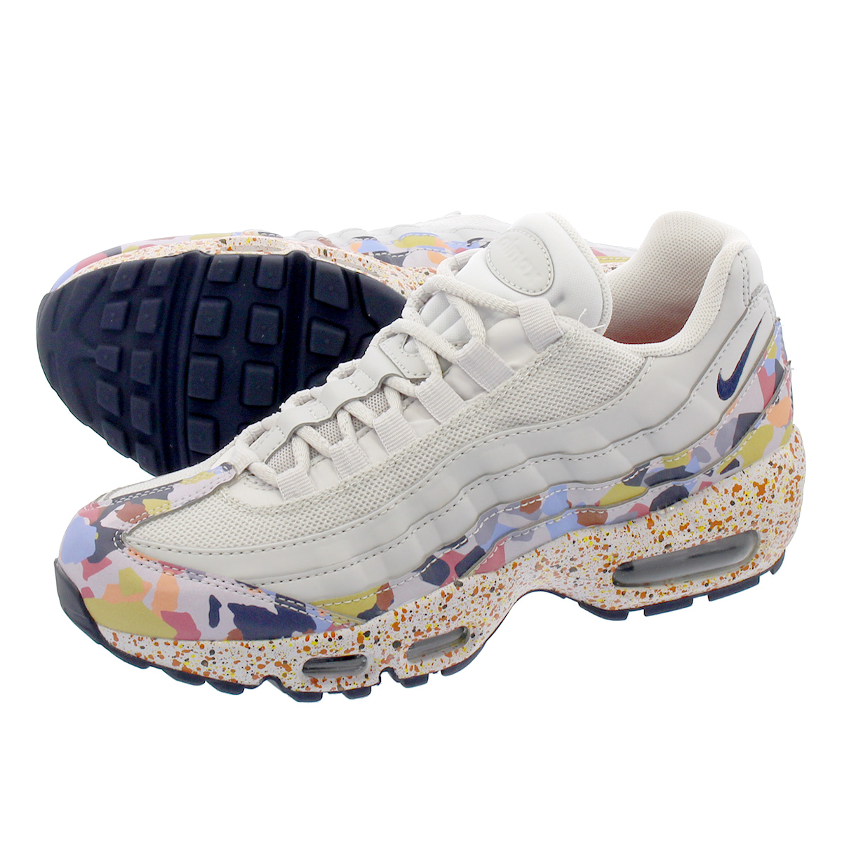 b7c080fecf3 NIKE WMNS AIR MAX 95 SE Nike women Air Max 95 premium SE VAST GREY MIDNIGHT  NAVY HABANERO RED 918