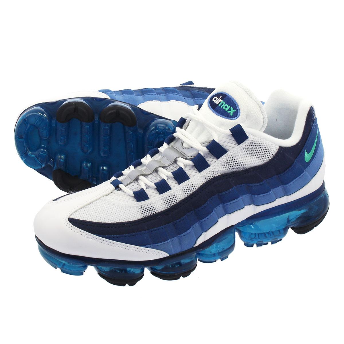 【ビッグ・スモールサイズ】 NIKE AIR VAPORMAX 95 ナイキ エア ヴェイパーマックス 95 WHITE/NEW GREEN/FRENCH BLUE/LAKE BLUE aj7292-100