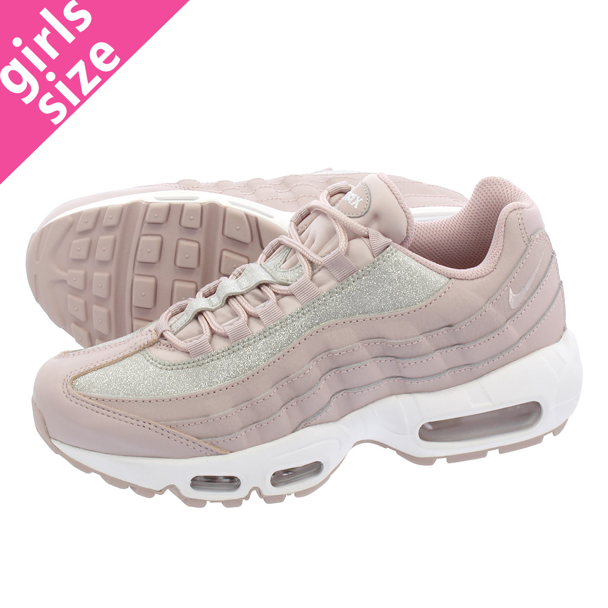 8fb15814ff4 LOWTEX PLUS  NIKE WMNS AIR MAX 95 SE Nike women Air Max 95 SE PARTICLE  ROSE PURE PLATINUM WHITE at0068-600
