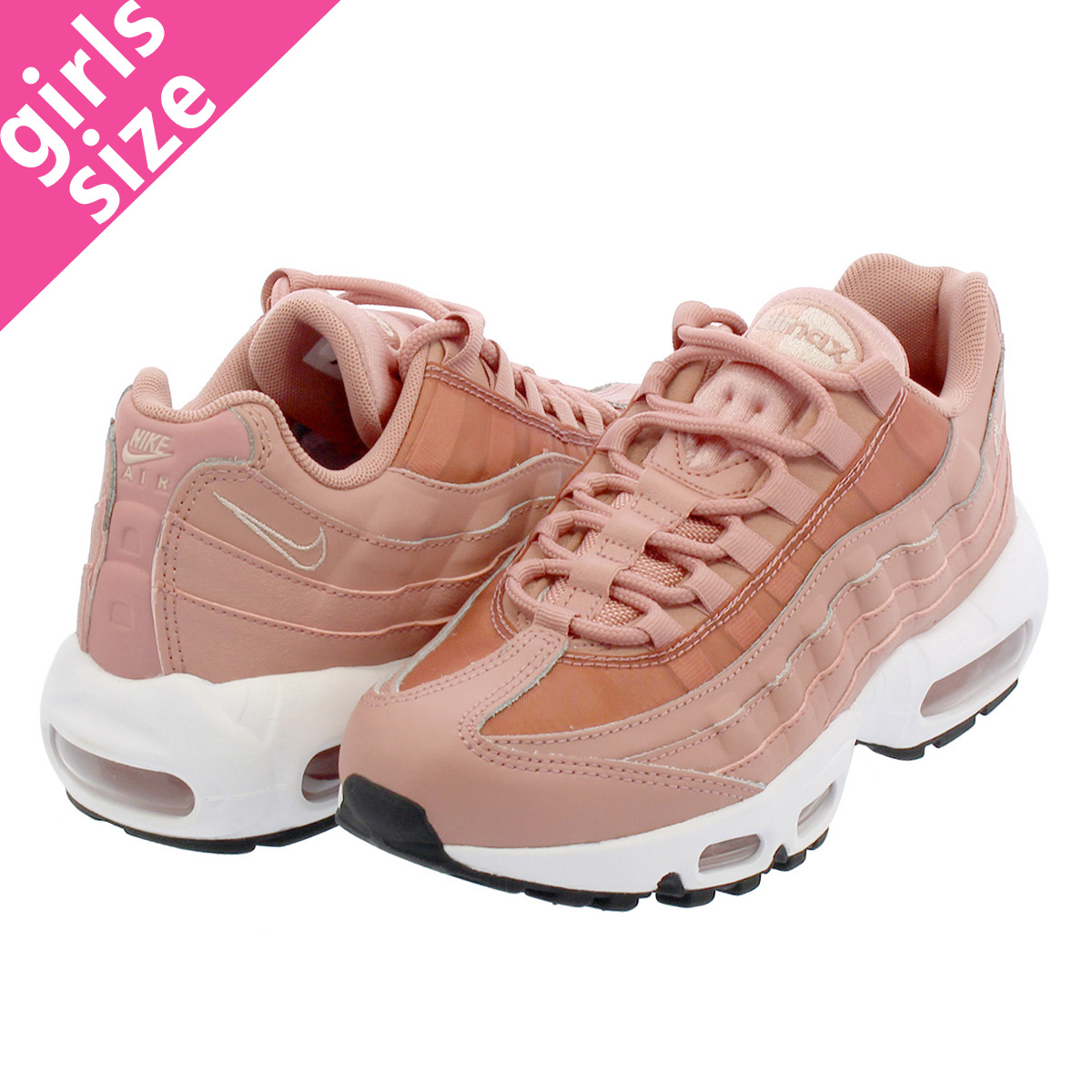 promo code 68e38 4c3cd NIKE WMNS AIR MAX 95 Nike women Air Max 95 RUST PINK BLACK WHITE PARTICLE  BEIGE 307,960-606