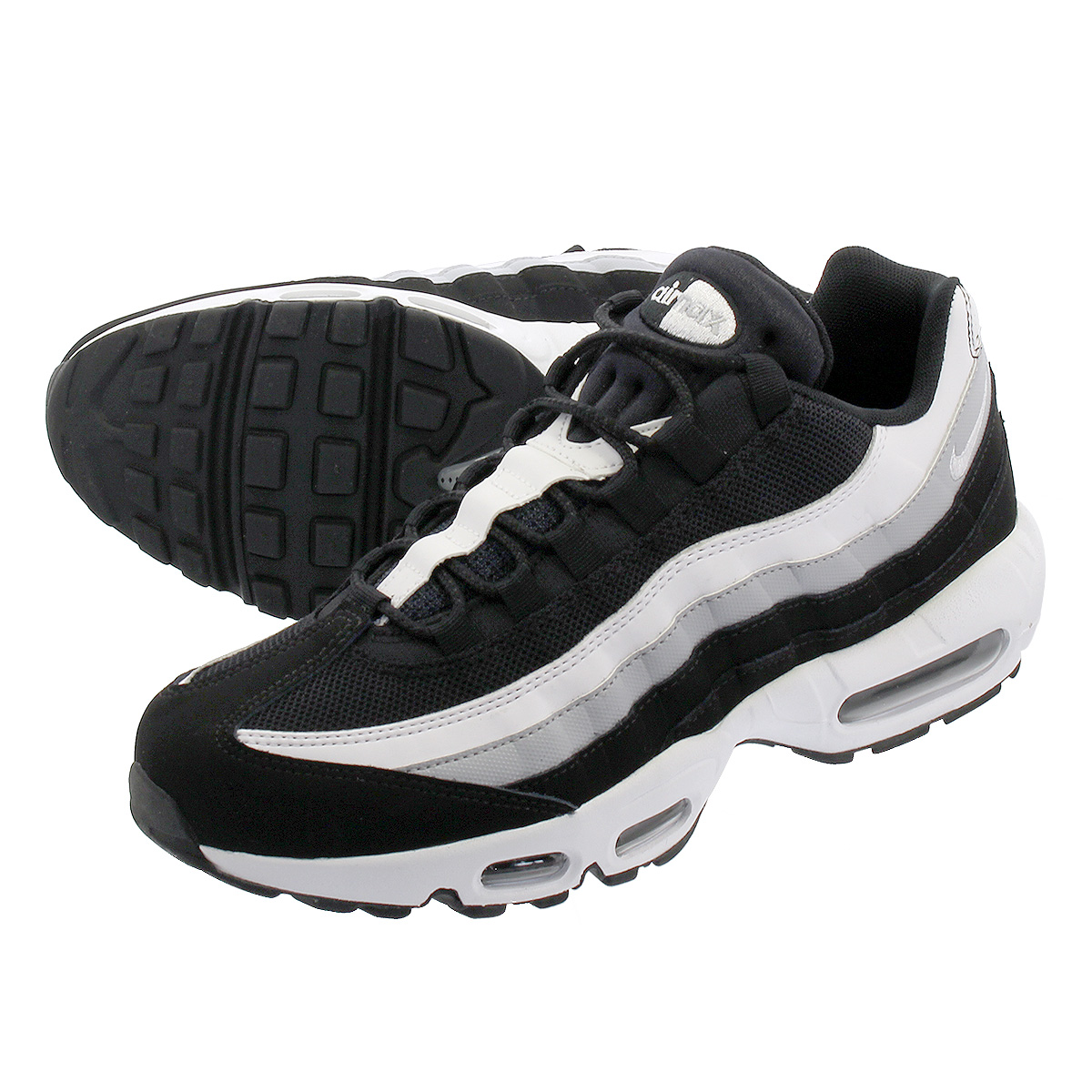 half off a84dd 62dd7 NIKE AIR MAX 95 ESSENTIAL Kie Ney AMAX 95 essential BLACK WHITE WOLF GREY  749,766-038