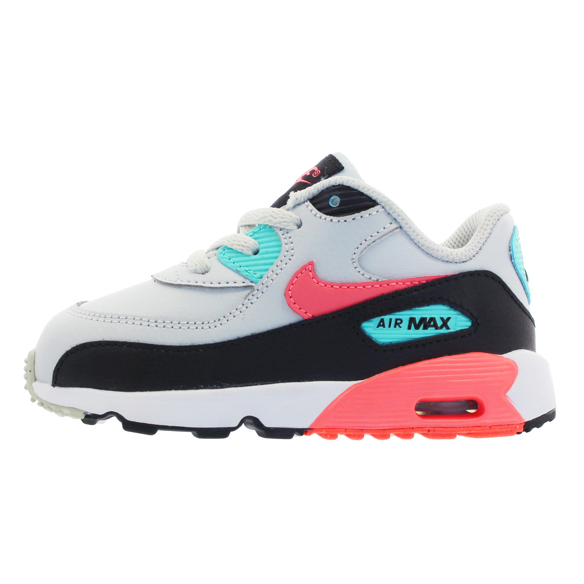 NIKE AIR MAX 90 LTR TD Kie Ney AMAX 90 leather TD PURE PLATINUMLAVA GLOWBLACKAURORA GREEN 833,379 013