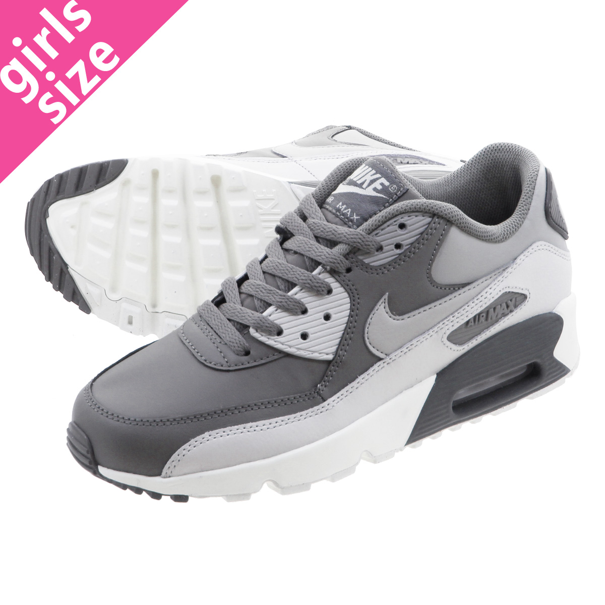 sale retailer 062b0 79f48 NIKE AIR MAX 90 LTR GS Kie Ney AMAX 90 leather GS COOL GREY WOLF GREY  833,412-013