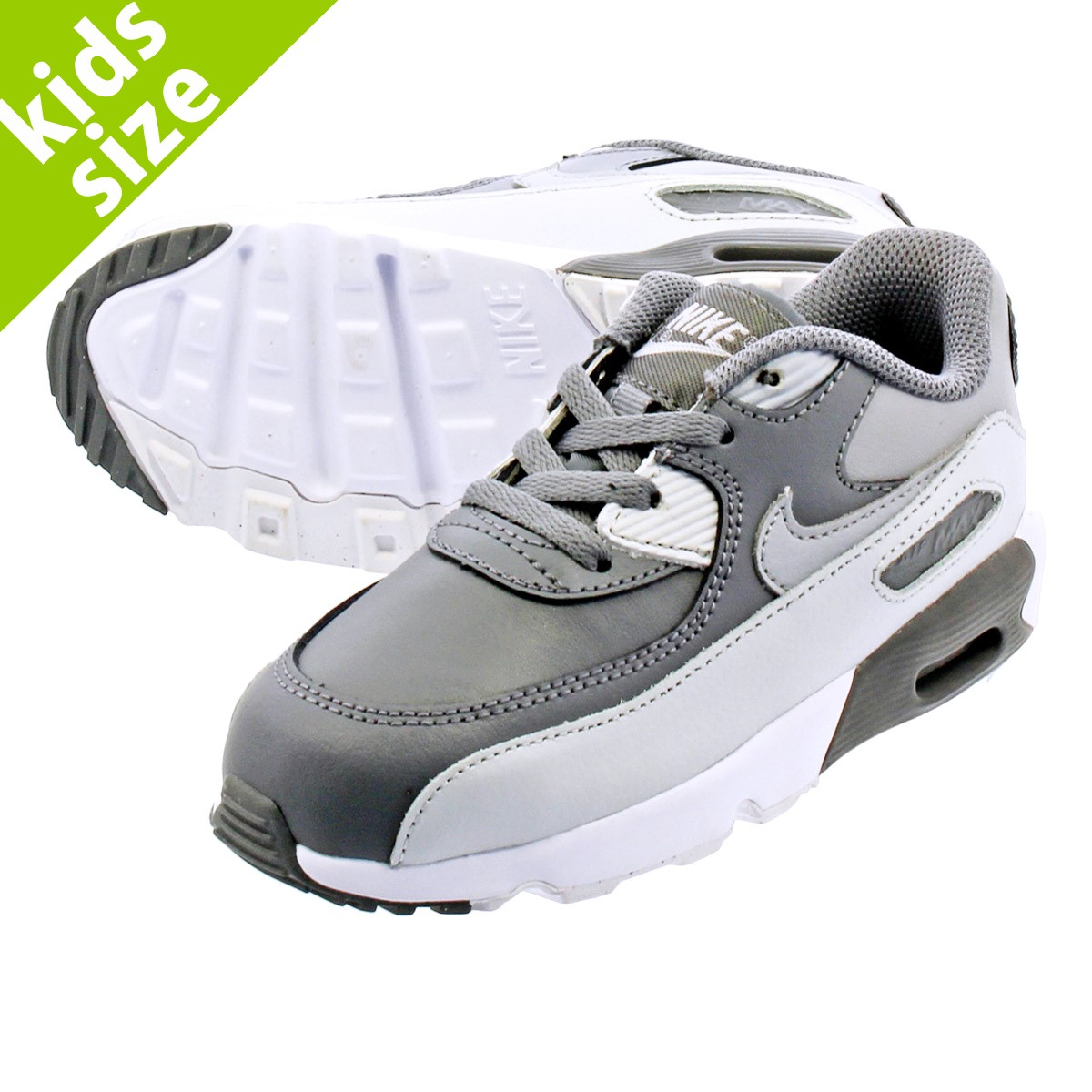 NIKE AIR MAX 90 LEATHER TD Kie Ney AMAX 90 leather TD COOL GREY WOLF GREY  833 58e456e465004
