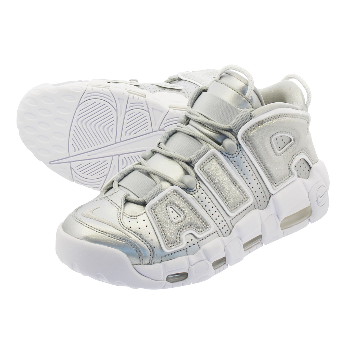 best website 3fe6f b29e9 NIKE WMNS AIR MORE UPTEMPO Nike women air more up tempo METALLIC SILVER  WHITE 917,593-003