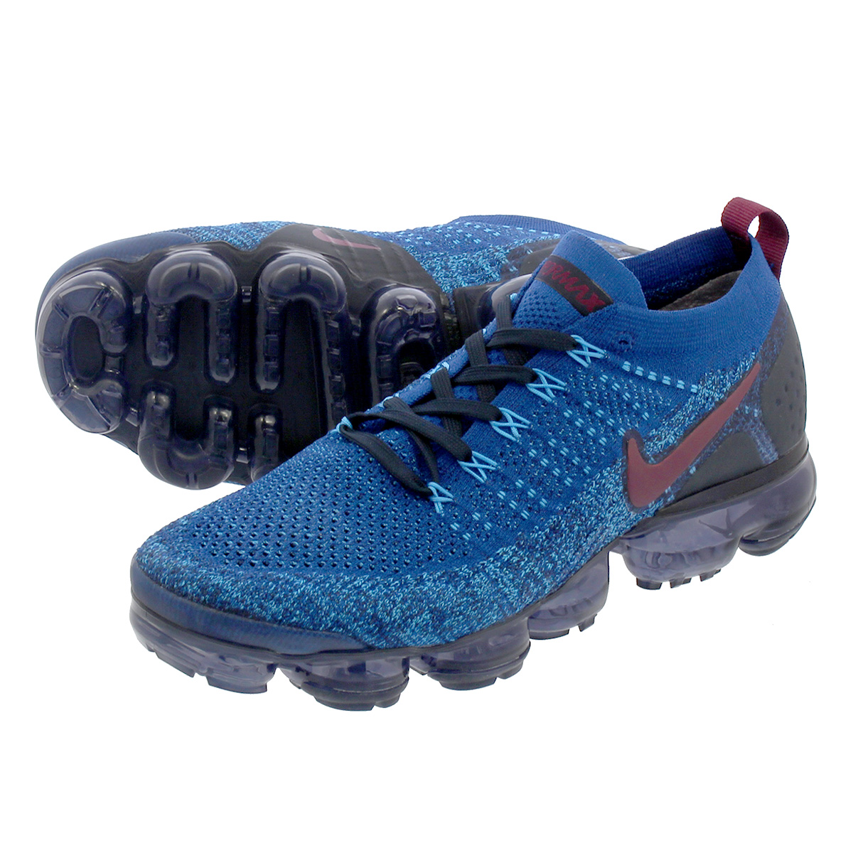 LOWTEX PLUS  NIKE AIR VAPORMAX FLYKNIT 2 Nike vapor max fried food knit 2  GYM BLUE BORDEAUX COLLEGE NAVY BLUE GLOW 942 81212cea5