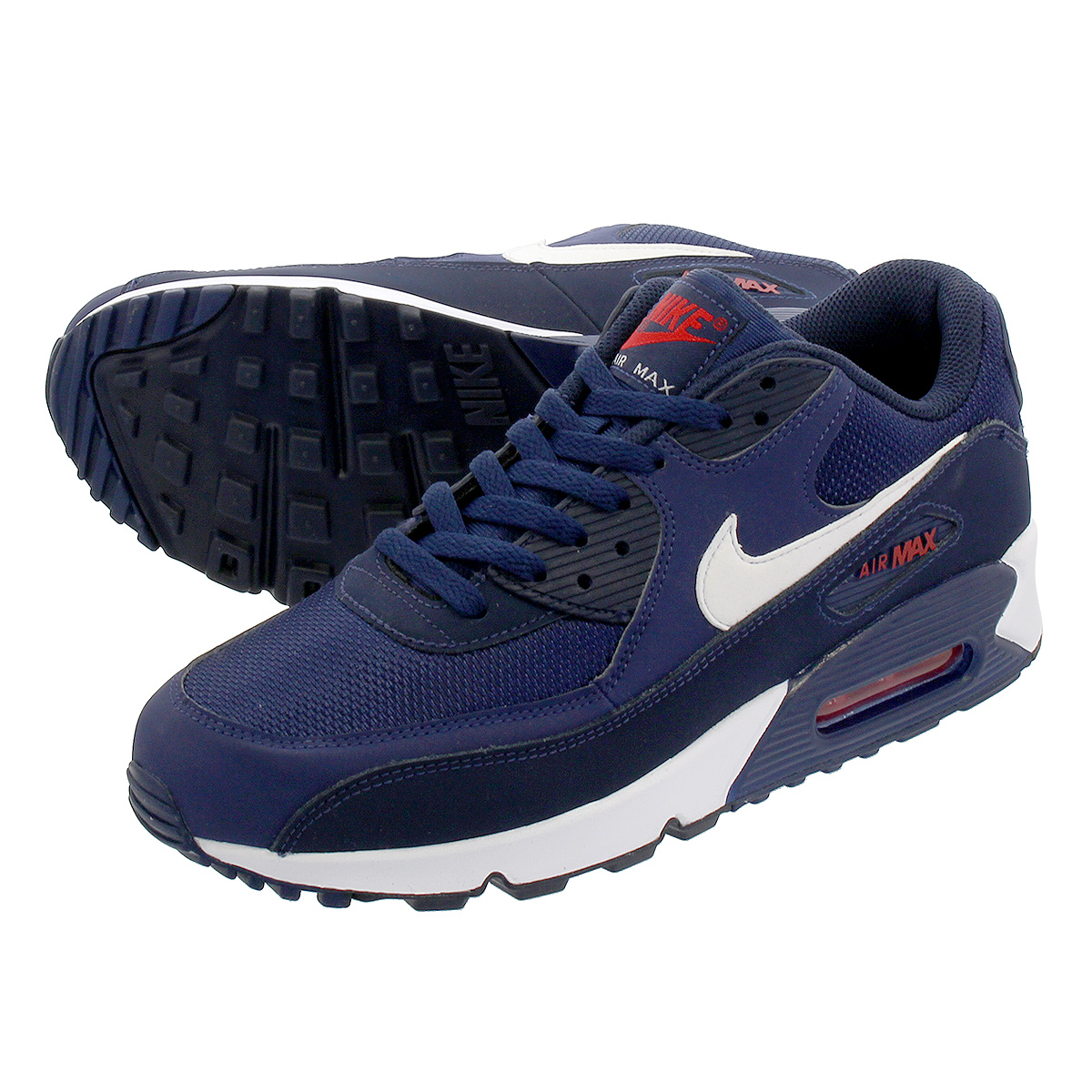 outlet store 2d7a4 4055a NIKE AIR MAX 90 ESSENTIAL Kie Ney AMAX 90 essential MIDNIGHT NAVY WHITE UNIVERSITY  RED aj1285-403