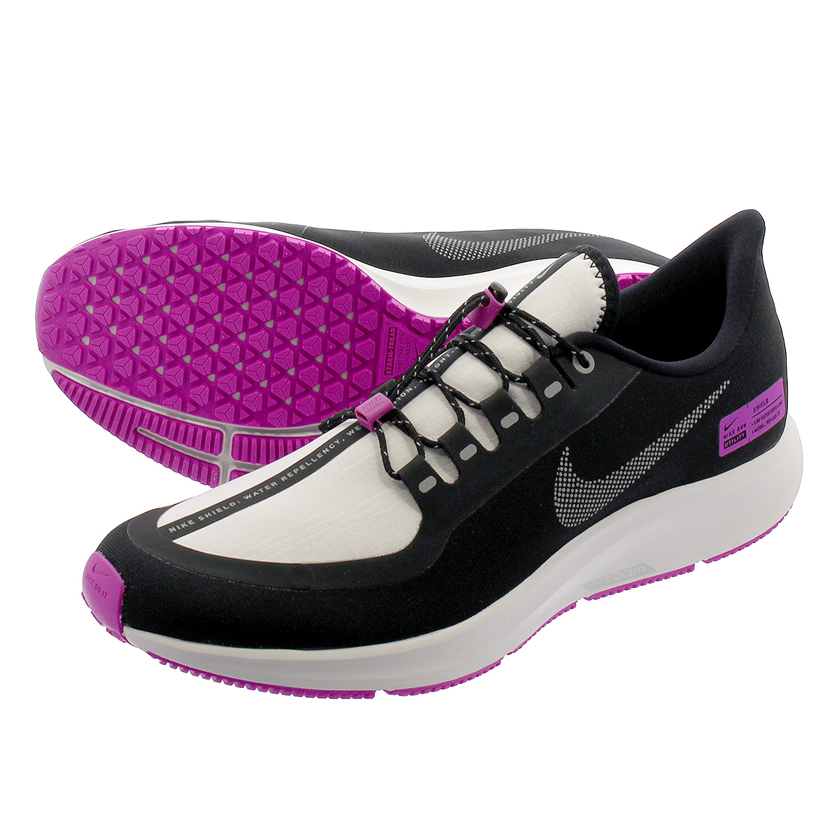 save off 60b22 4fddf NIKE AIR ZOOM PEGASUS 35 SHIELD NRG Nike air zoom Pegasus 35 shield NRG  BLK/REFLECT SILVER/VIOLET