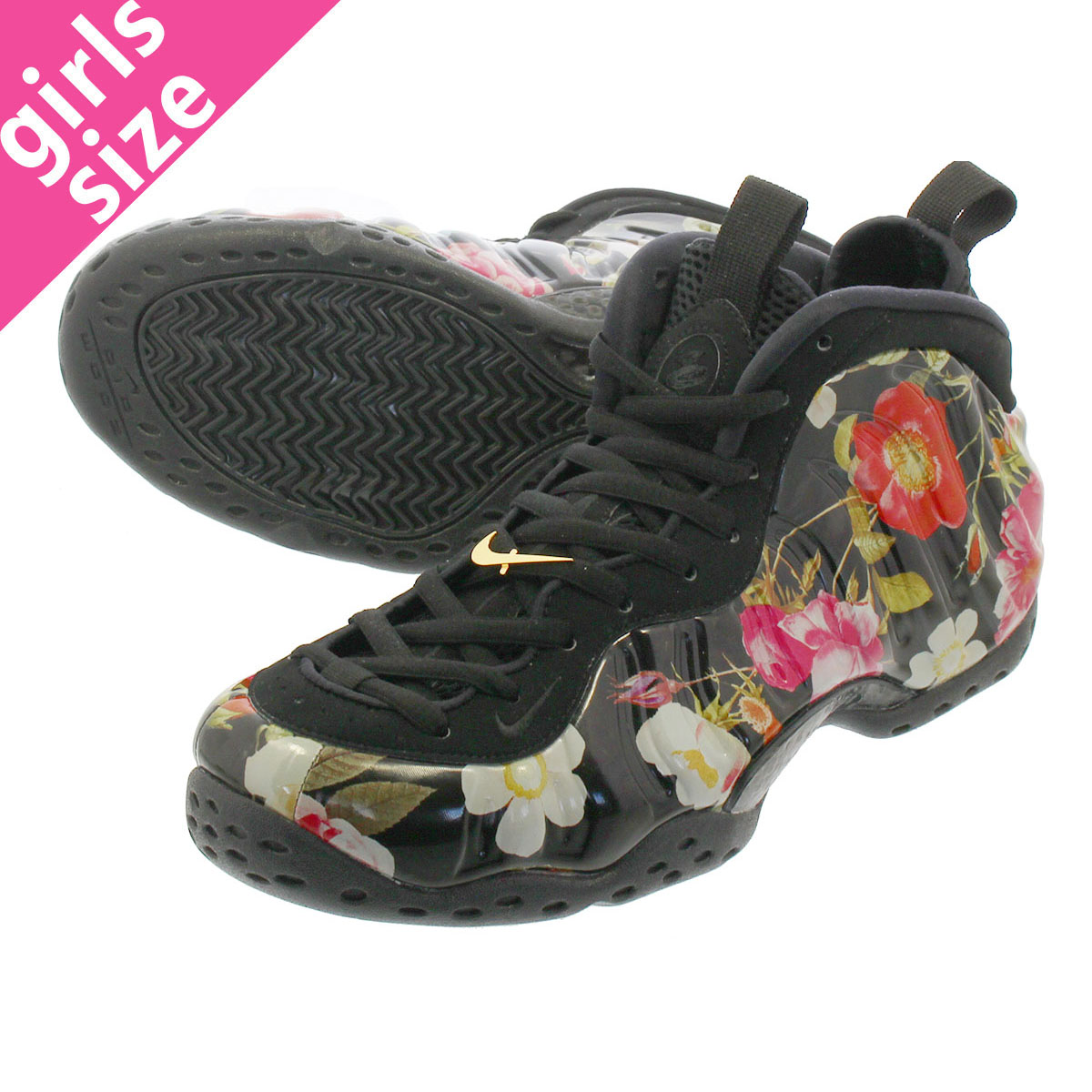 NIKE AIR FOAMPOSITE ONE 【FLORAL】 ナイキ エア フォームポジット ワン BLACK/BLACK/WHITE 314996-012