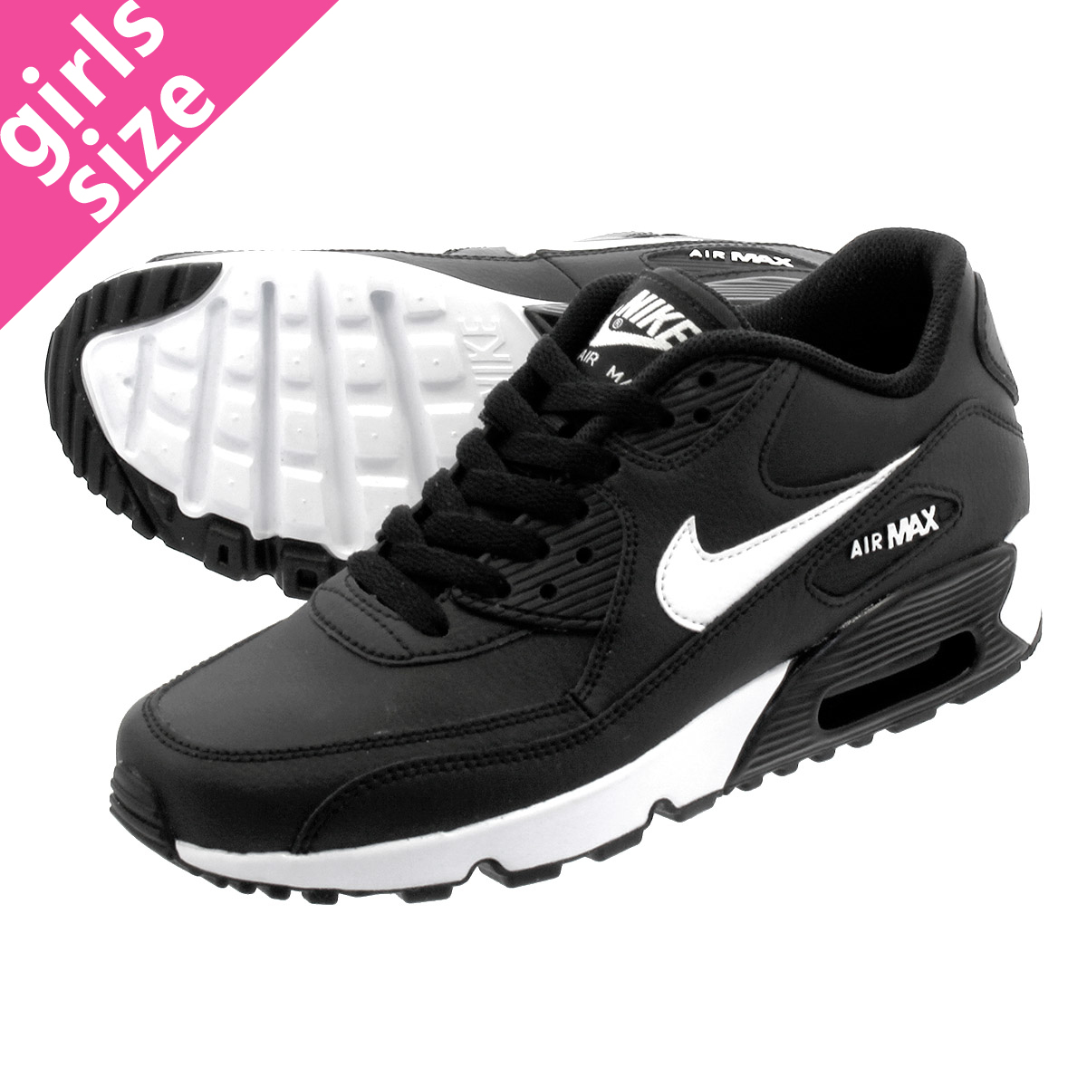 best sneakers 4abf6 5e86a NIKE AIR MAX 90 LTR GS Kie Ney AMAX 90 leather GS BLACK WHITE 833,412-025