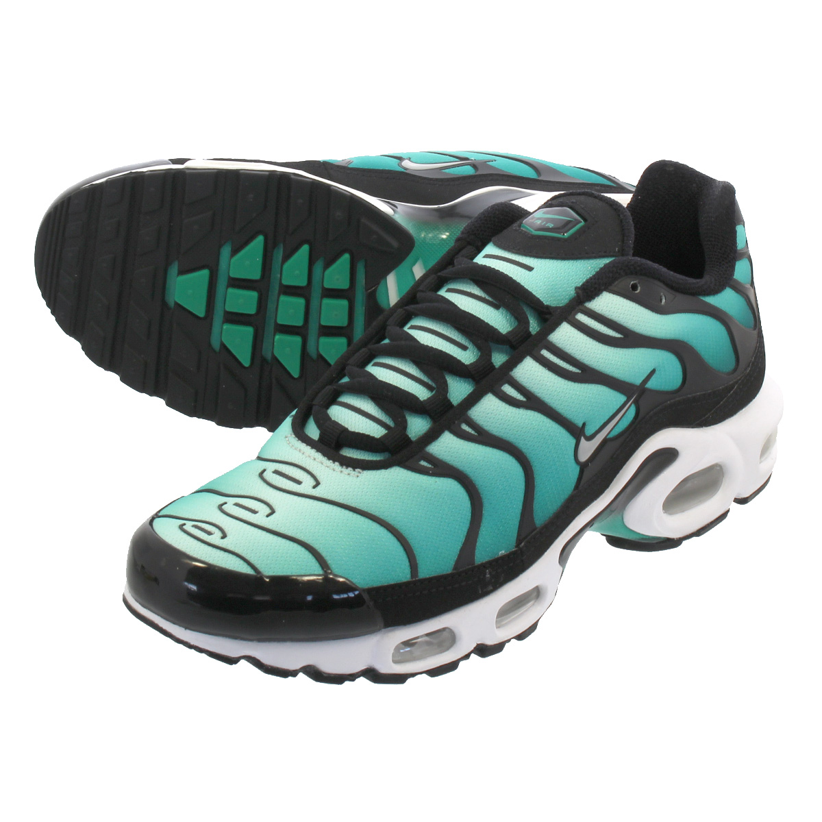 finest selection c2979 73ec1 NIKE WMNS AIR MAX PLUS SE Nike women Air Max plus SE BLACK/METALLIC  PLATINUM/CLEAR EMERALD 862,201-008