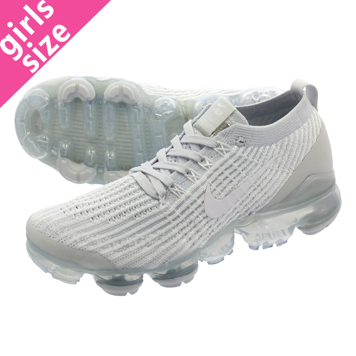cb6ae30064c62 NIKE WMNS AIR VAPORMAX FLYKNIT 3 Nike women vapor max fried food knit 3  WHITE WHITE PURE PLATINUM METALLIC SILVER aj6910-100
