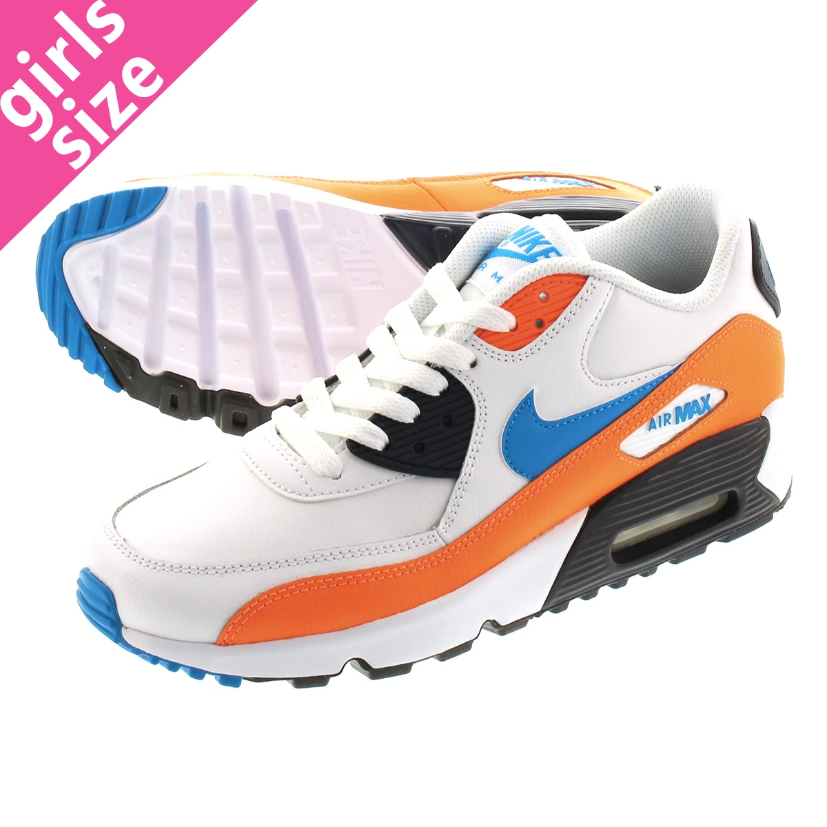 Nike Air Max 90 Leather GS shoes white orange blue