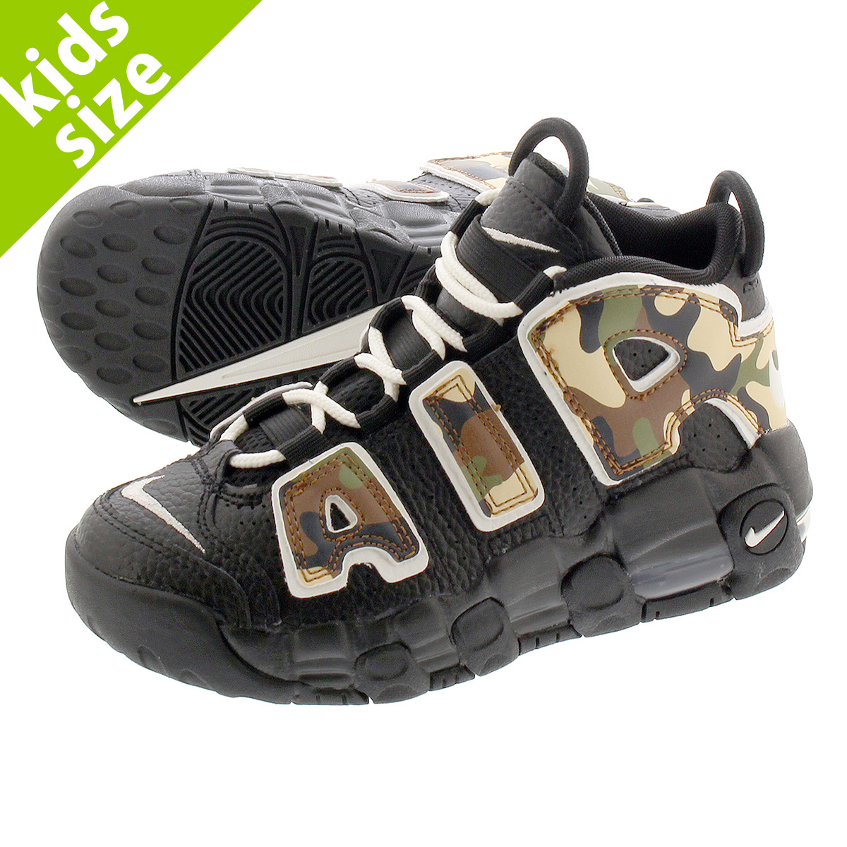 【キッズサイズ】【16.0~22.0cm】 NIKE AIR MORE UPTEMPO PS 【BLACK CAMO】 ナイキ モア アップ テンポ PS BLACK/SAIL/LIGHT BRITISH TAN/ASPARAGUS cj0931-001