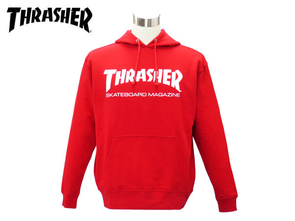 THRASHER SWEAT PULLOVER HOODIE RED/WHITE 【MAG LOGO】