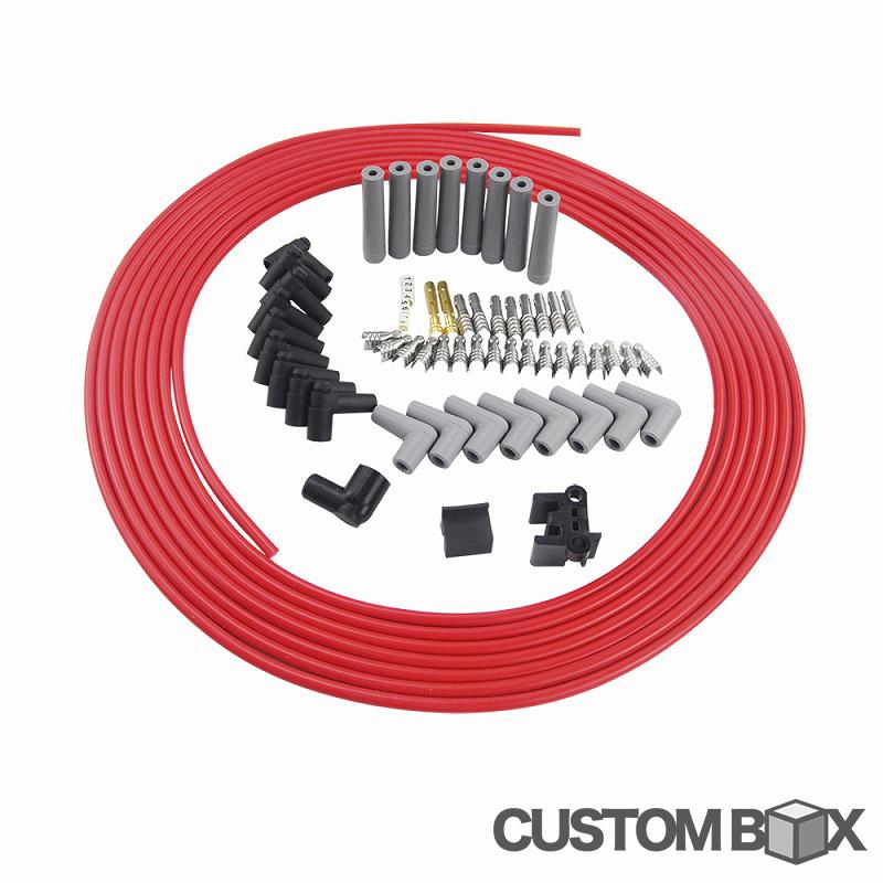 汎用 10m プラグコード プラグキャップ セット V8 対応 デスビ 点火系 自作 ハーネス キット 圧着 工具 セット クライスラー Hemi Ford Dodge