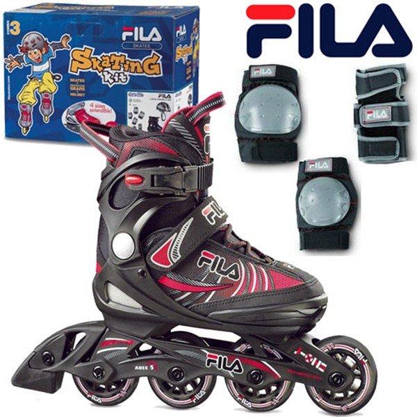 11月末日までポイント10倍!FILA フィラジュニア インラインスケート J-ONE COMBO G 2 SETBlack/red