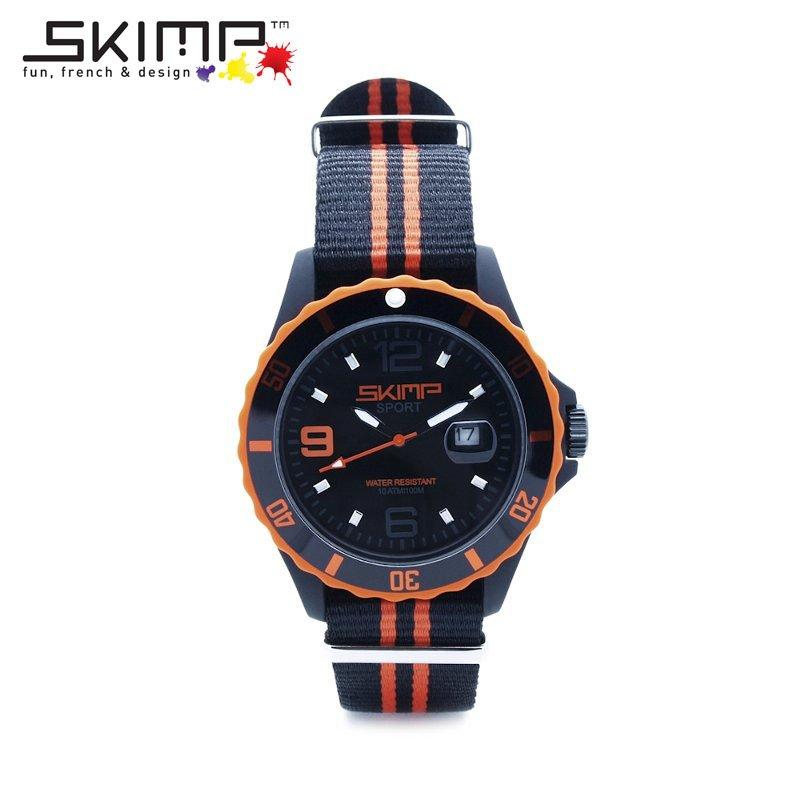 腕時計 メンズ 大人 ゴルフ ブランド スポーツウォッチ ビジネス NATOベルト ミリタリー 乗馬 ジム スポーティー アウトドア 10気圧防水 10ATM フランスブランド SKIMP WATCH 44mm オレンジ (橙色)